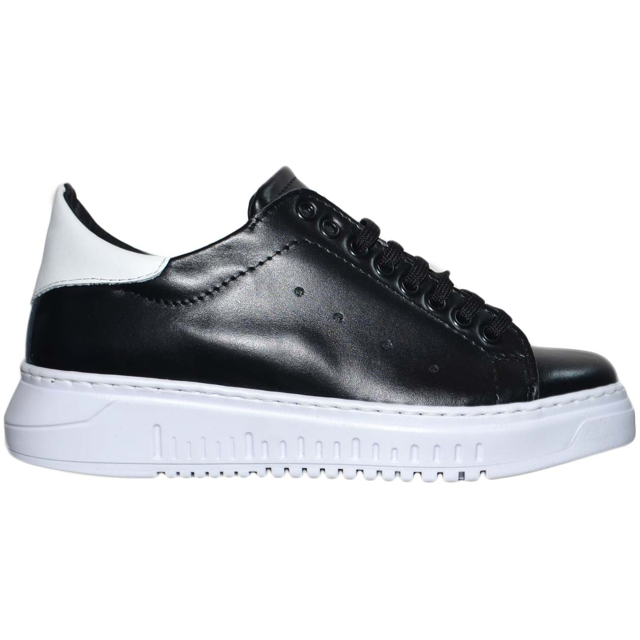 Dettagli su Sneaker bassa uomo nera in vera pelle con fortino bianco fondo alto army handmad