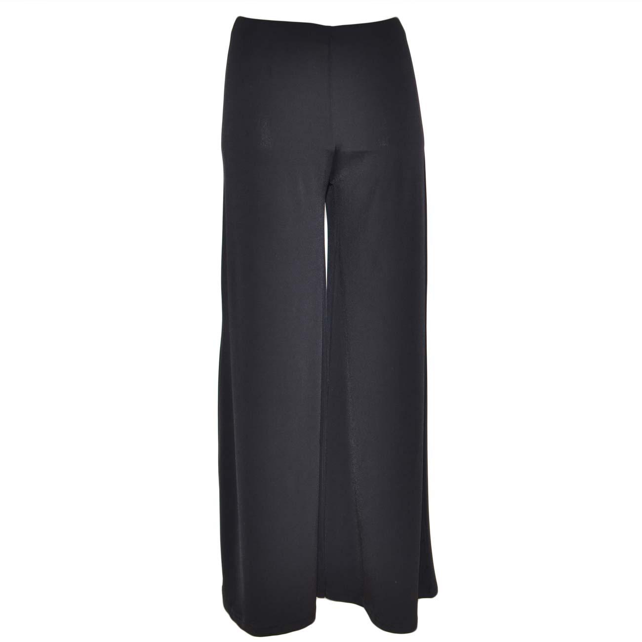 d6ba2615f8 Pantaloni palazzo donna neri in elastene morbido e sottile con elastico in  vita