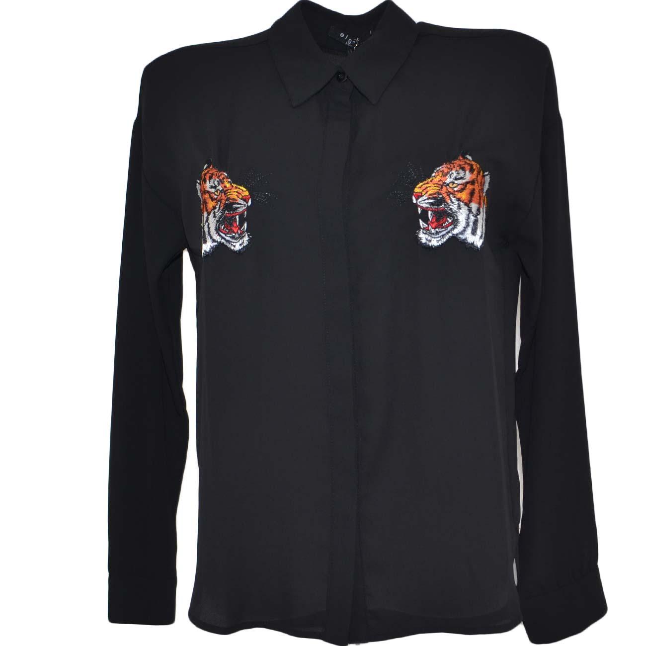 new product 40cf5 e5368 Camicia donna nera velata in viscosa con stemmi di tigre cucite altezza  petto moda trasparente linea basic donna camicie Malu Shoes | MaluShoes