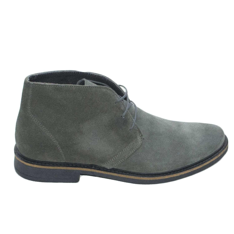 Dettagli su Polacchino scarpe uomo casual light camoscio grigio vera pelle made in italy