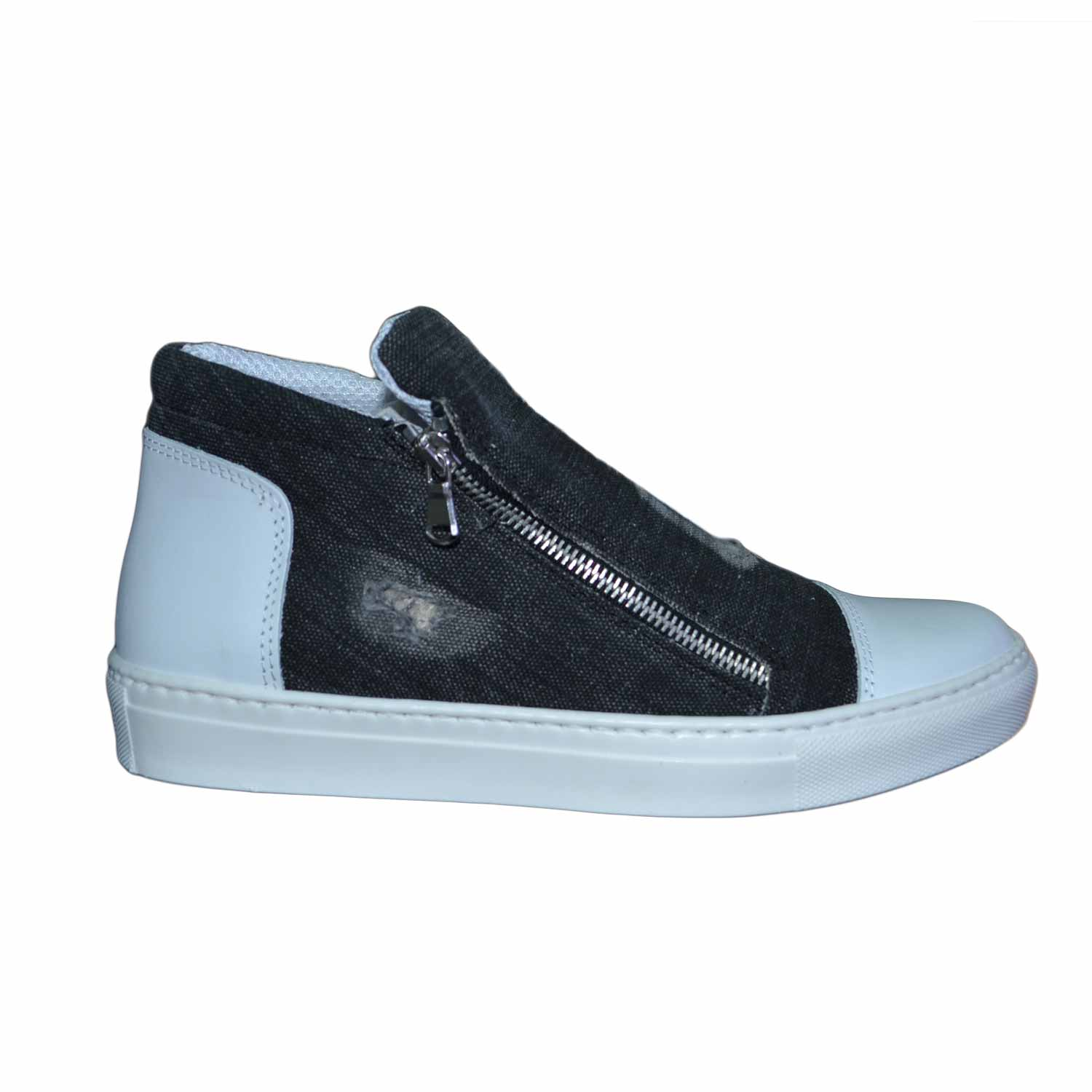 sneakers bassa uomo zip laterale rifinimenti in vera pelle made in italy nero  jeans.