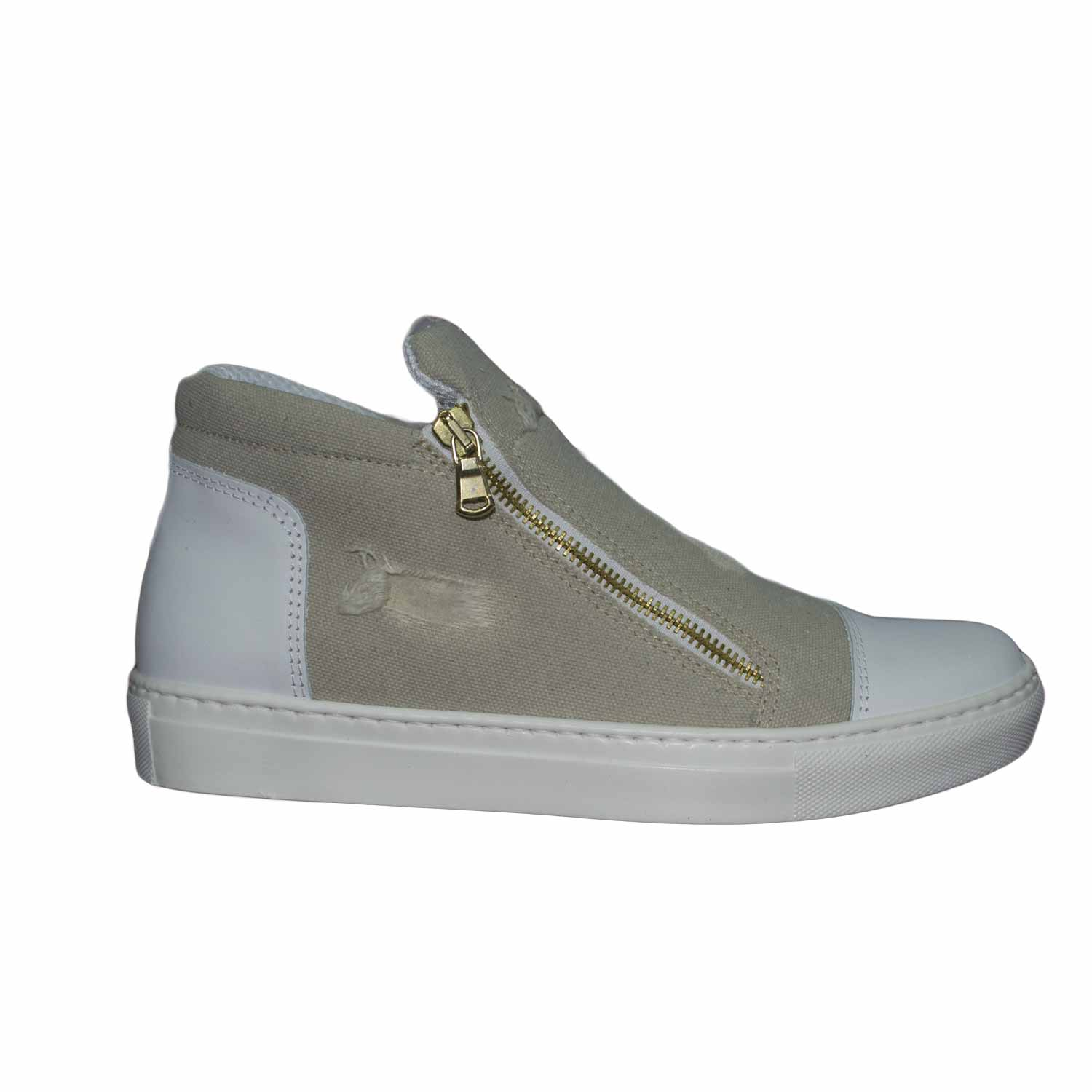 sneakers bassa uomo zip laterale rifinimenti in vera pelle made in italy beige jeans.