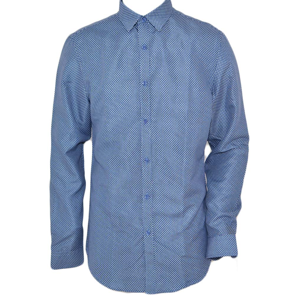Camicia uomo cotone blu collo rigido manica lunga motivo astratto made in italy slim linea  basic.