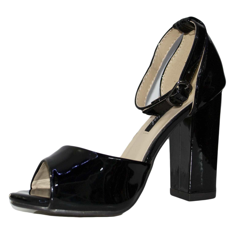 Sandalo fersini art 00945 comfort tacco doppio laminato specchio nero vernice donna sandali - Vernice a specchio ...