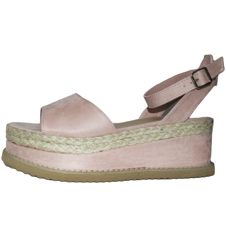 384bcdd49a Sandalo zeppa camoscio paglia art wi090 comfort moda glamour cinturino  cipria donna sandali bassi ragnetto WILADY | MaluShoes