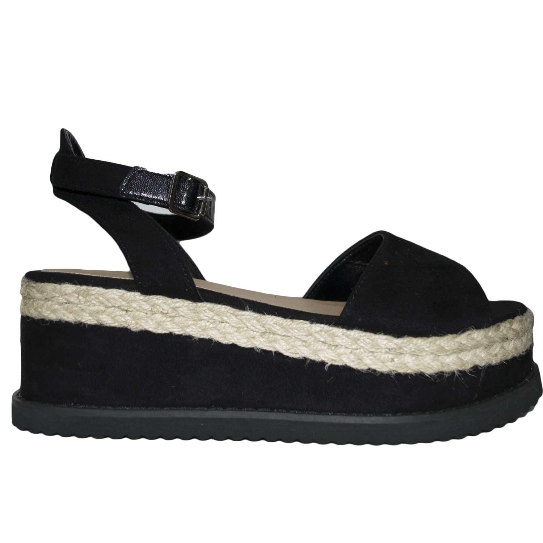cdbbc7fdd4 Sandalo zeppa camoscio paglia art WI090 comfort moda glamour cinturino nero  donna sandali bassi ragnetto WILADY | MaluShoes