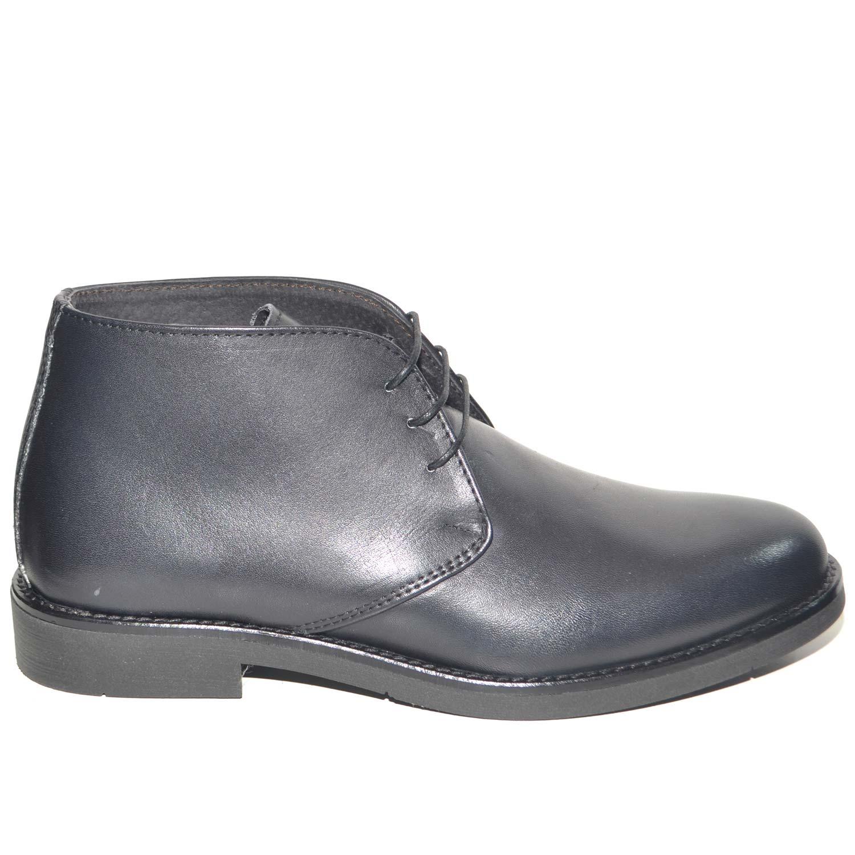 Polacchino uomo invernale in vera pelle vitello nero comfort basic stile  italiano scarpe comfort da professionista 4a9255d3545
