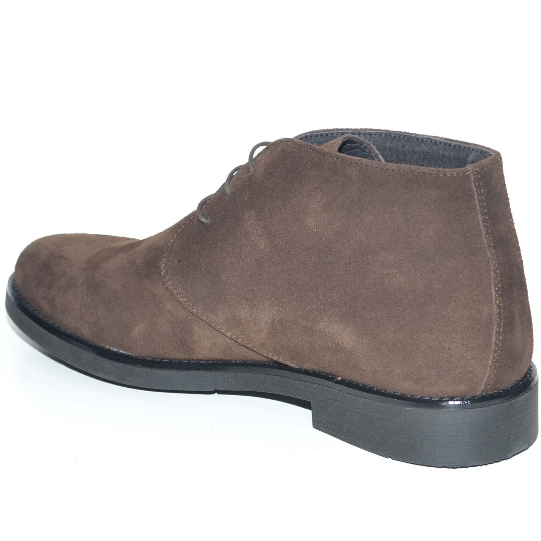 d79586d54e Polacchino uomo invernale in vera pelle camoscio marrone comfort basic  stile italiano scarpe da professionista handmade uomo polacchini MALU SHOES  | ...