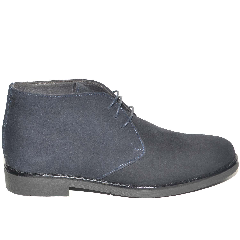 Polacchino uomo invernale in vera pelle camoscio blu comfort basic stile  italiano scarpe da professionista handmade be66a8a05a5