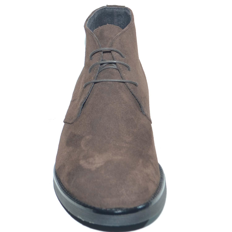 Polacchino uomo invernale in vera pelle camoscio marrone comfort basic  stile italiano scarpe da professionista handmade b1b1e179137