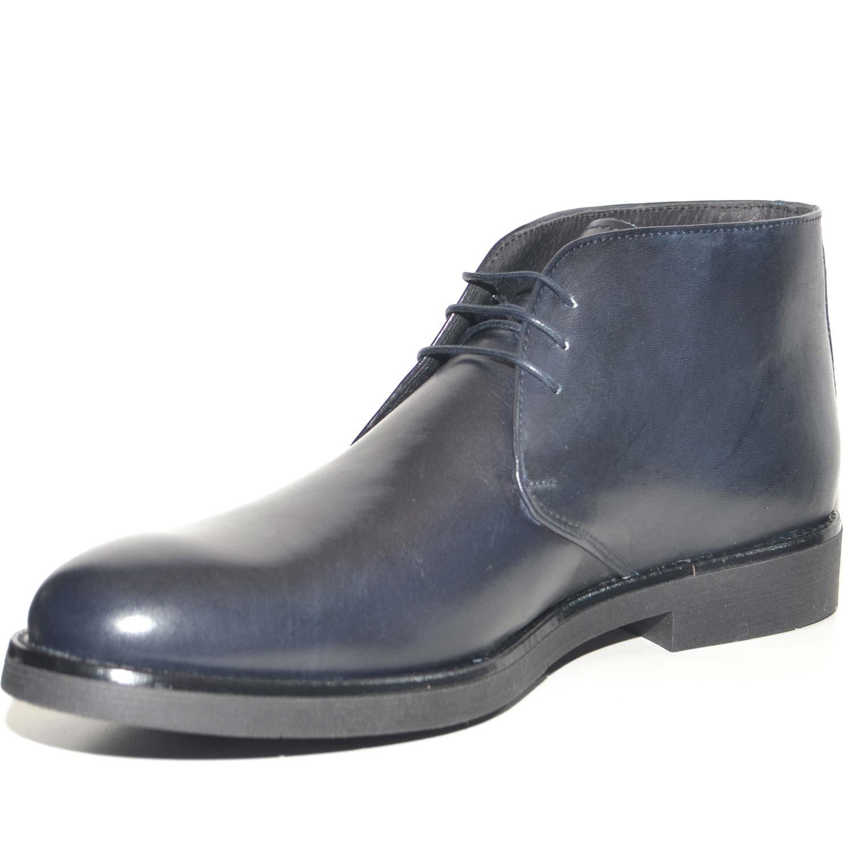 Polacchino uomo invernale in vera pelle vitello blu comfort basic stile  italiano scarpe da professionista handmade 31bbf3e4750