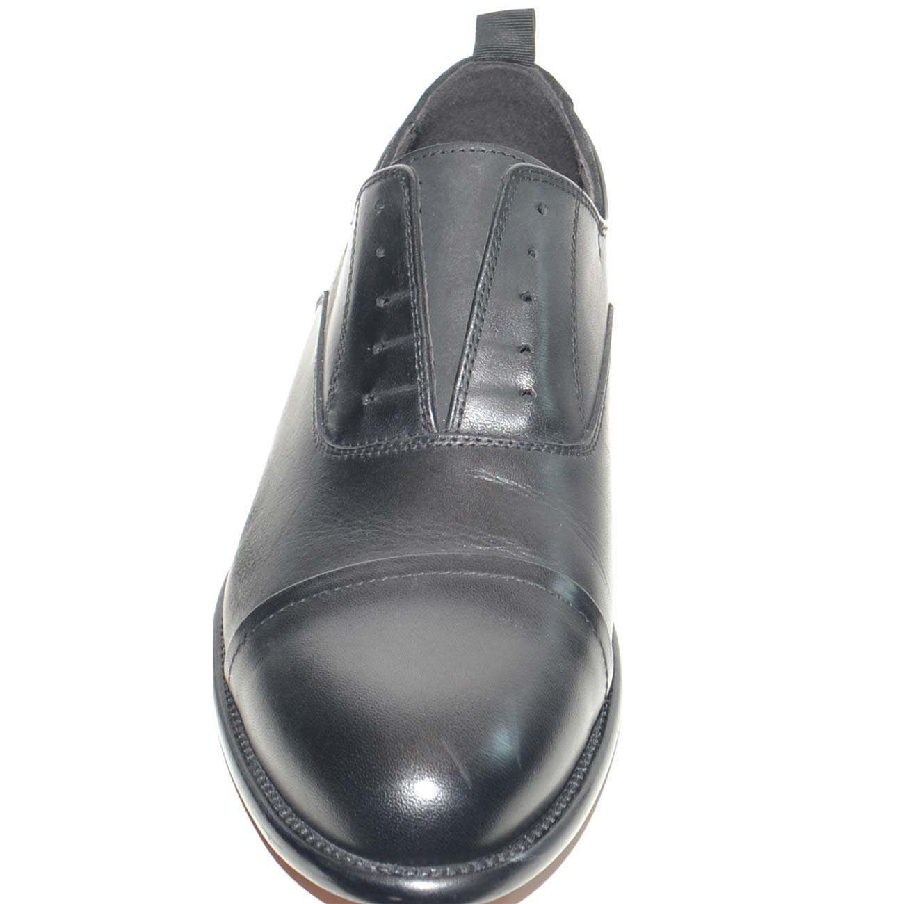 Scarpe uomo francesina inglese punta alzata senza lacci vera pelle lucida  nero made in italy fondo 70dc9e46fa6