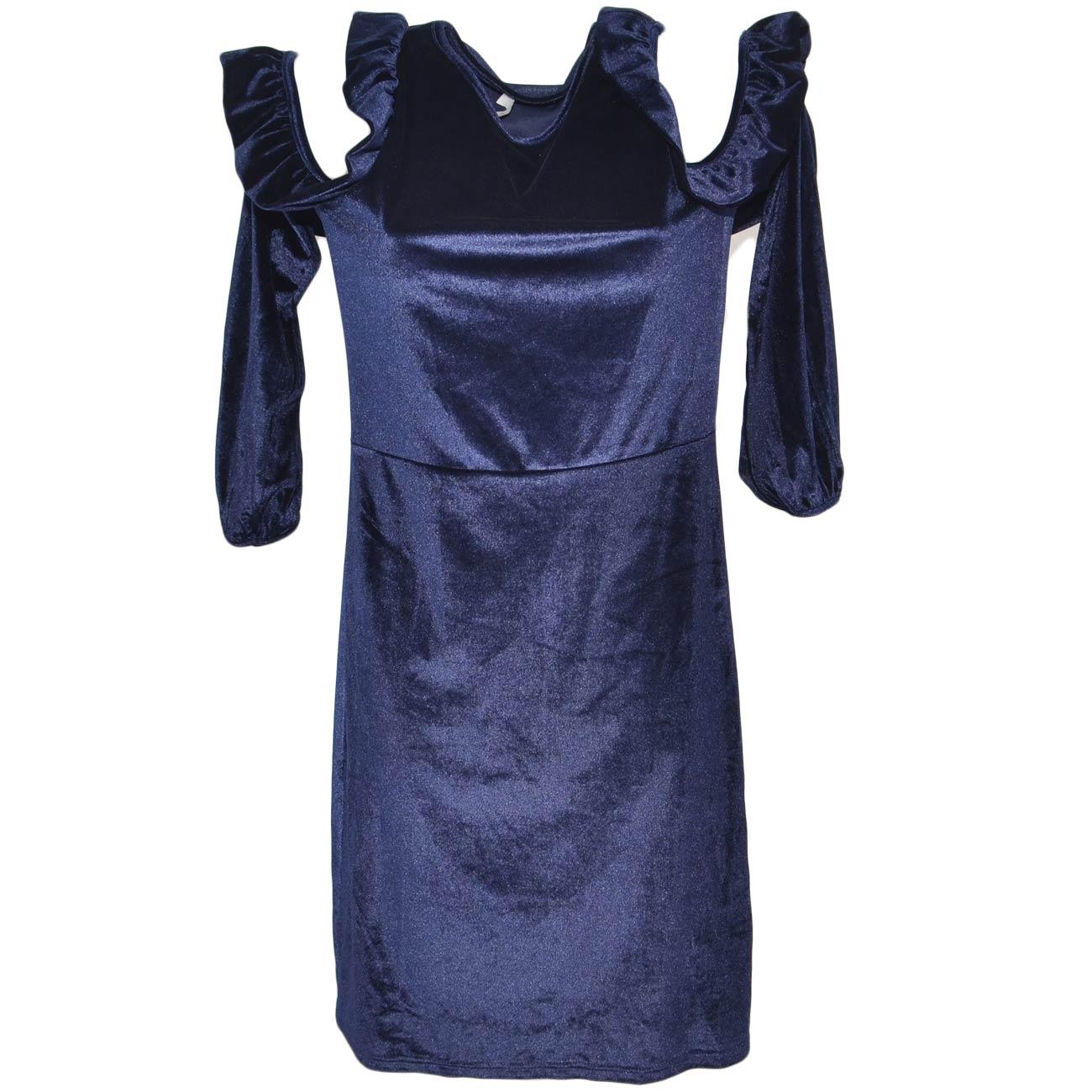 the latest bd725 f2eeb Vestito donna in ciniglia blu con scollo sulle spalle e rouches collo tondo  a manica lunga palloncino anni 30 midi donna abiti made in italy | ...