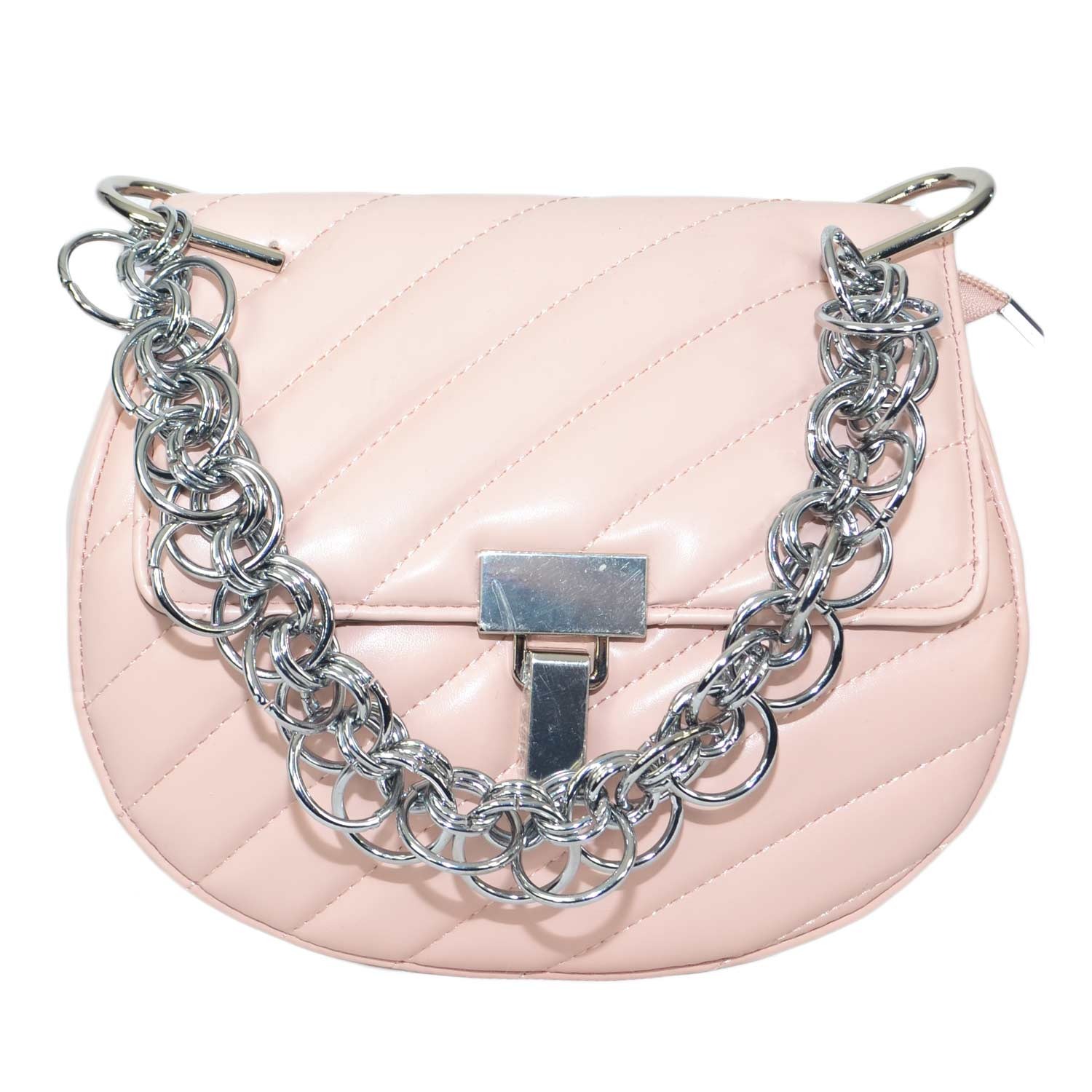 Borsa donna rosa con catena moda glamour made in italy.