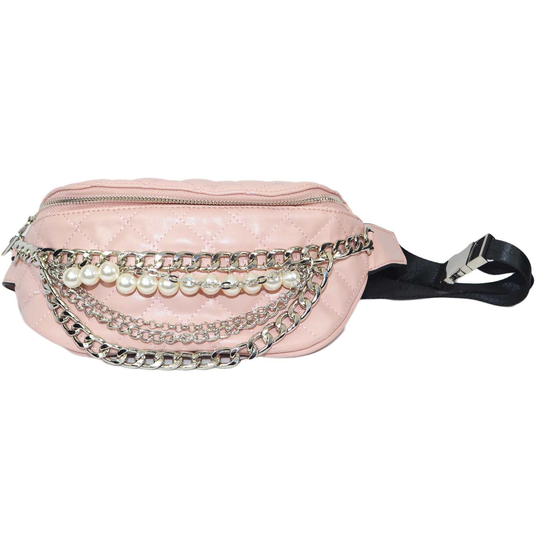 comprare popolare 5485a 22b14 Marsupio donna rosa con catene oro moda glamour made in italy donna  marsupio Malu Shoes | MaluShoes
