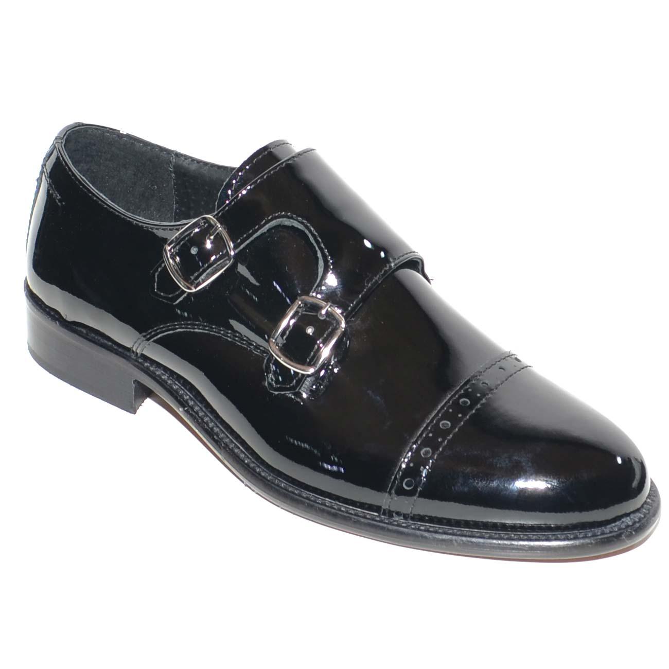 Scarpe uomo doppia fibbia lucide vernice nero vera pelle con fondo in cuoio  artigianale handmade per 29a7e79f143