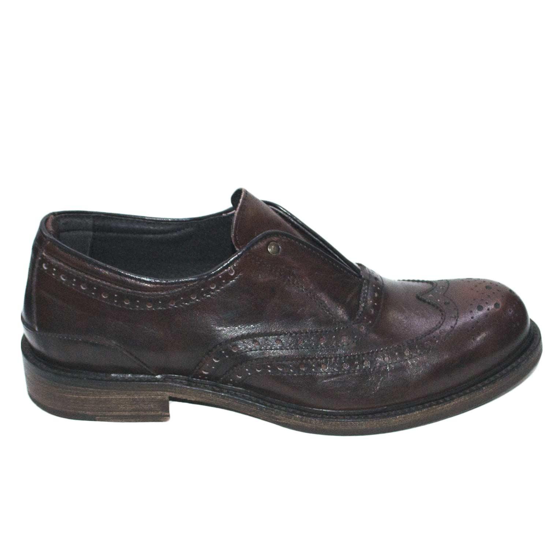 Scarpe stringate pelle fondo cuoio antiscivolo taupe spazzolato senza lacci  casual 6d47363200c
