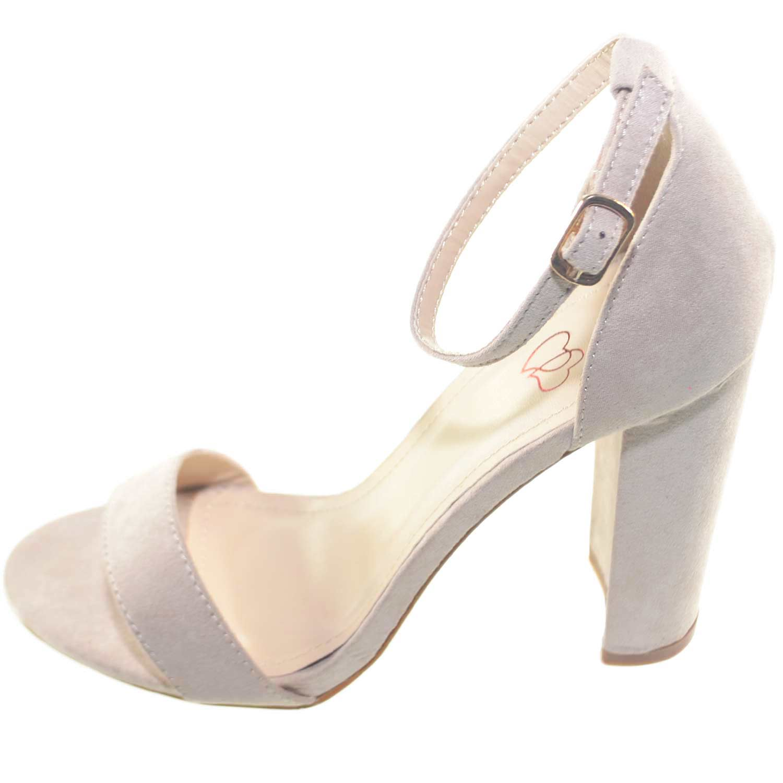 Sandalo tacco beige scarpe donna eleganti tacco doppio comfort per  cerimonia moda glamour 64b27327535