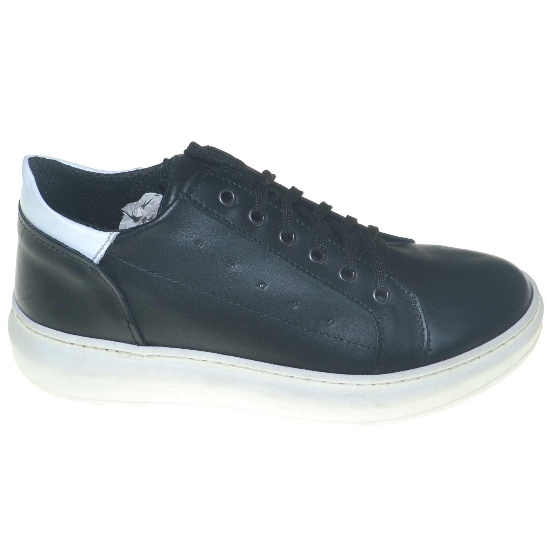 Dettagli su Sneakers bassa uomo bicolore nero bianco made in italy vera pelle moda giovanile