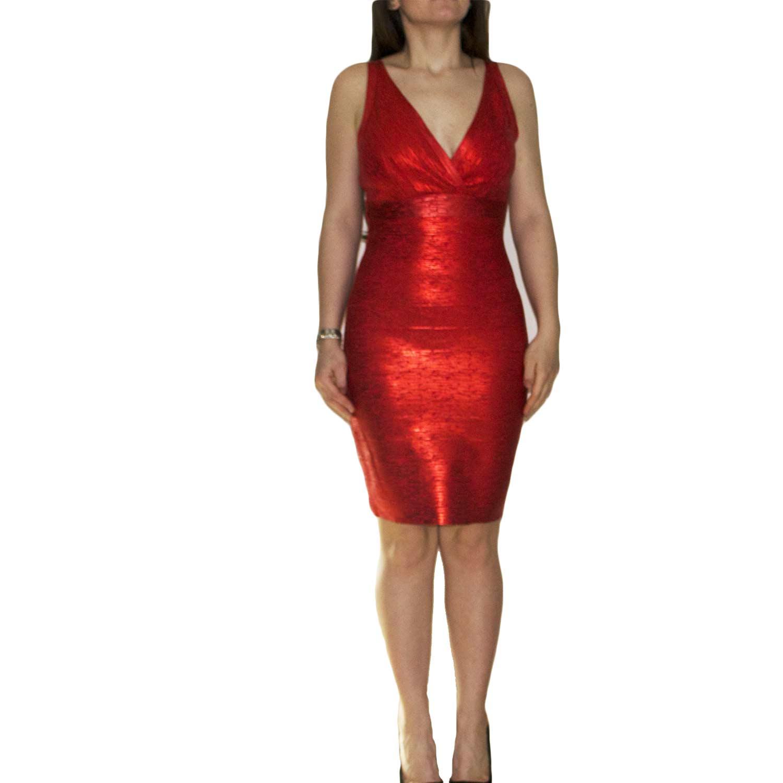 Abito bandage tubino donna aderente e modellante sexy laminato rosso scollo  e dettaglio slim fit moda 4d051e17b60