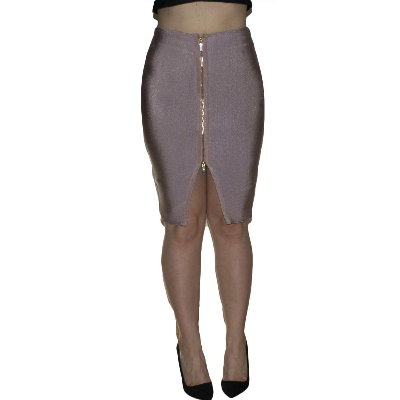 Gonna donna mini in tessuto scamosciato cuoio a vita alta con bottoni frontali e chiusura zip moda donna gonne Malu shoes | MaluShoes