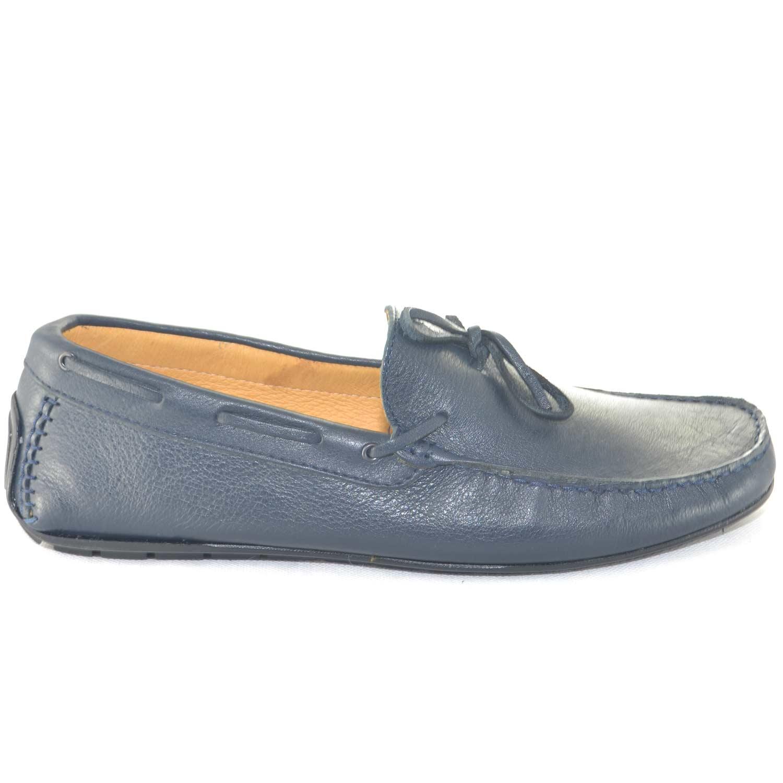 70cb624e4174d Scarpe uomo mocassino interland made in italy vera pelle blu laccio moda  giovanile calzature da barca. Passa il mouse sopra per eseguire zoom