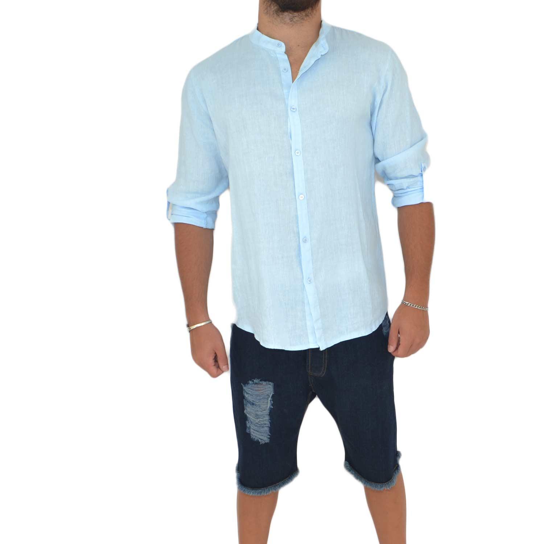 new concept fb7cc f4086 Camicia uomo lino celeste collo coreano manica lunga regolabile motivo  basic made in italy uomo camicie Malu Shoes | MaluShoes