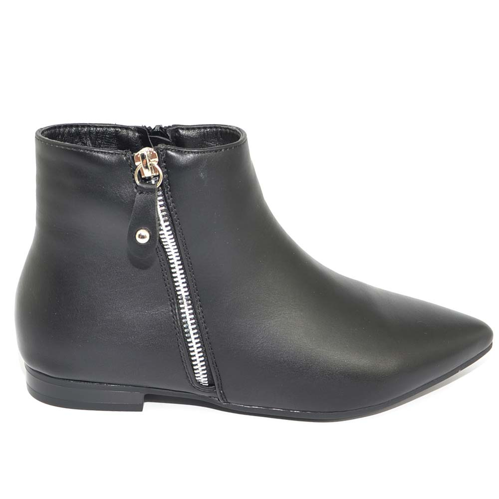 consistenza netta garanzia di alta qualità sconto di vendita caldo Stivaletto donna texano nero basso a punta zip argento e chiusura interna  comfort moda glam donna stivaletti Malu Shoes | MaluShoes