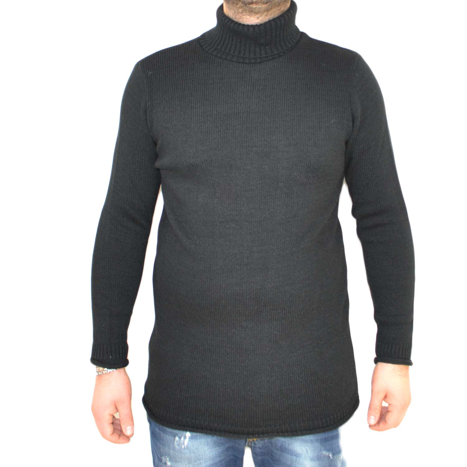 Maglione collo alto art..4432 nero made in italy moda tendenza slim.