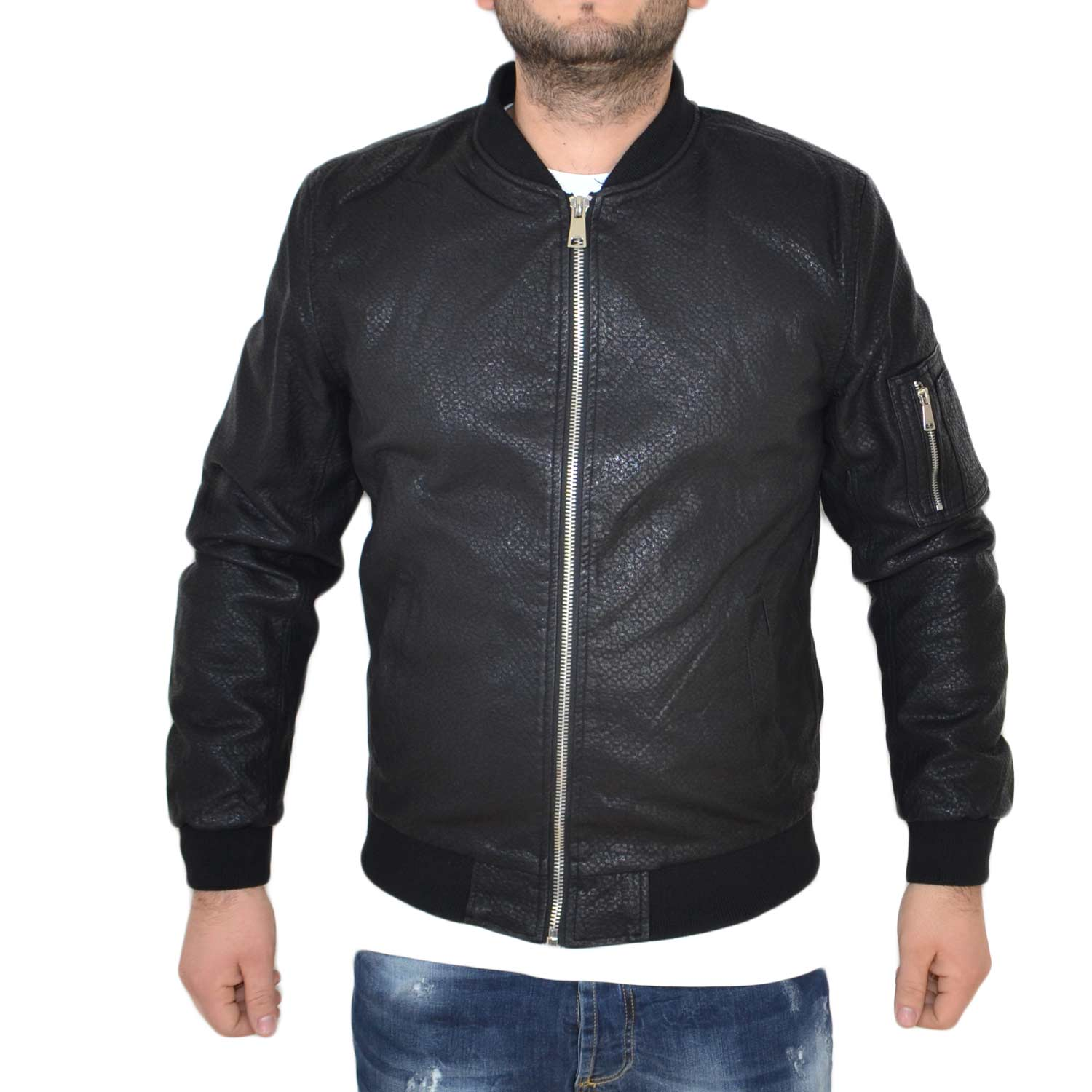 Giubbino in pelle art.2245 nero con zip made in italy moda comfort .