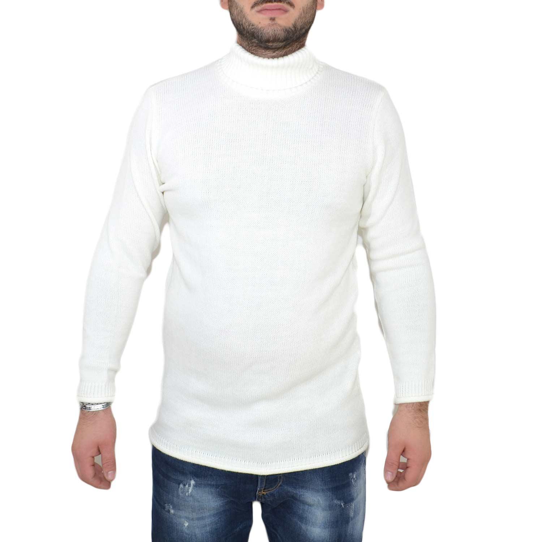 New York ae368 faf04 maglione dolcevita uomo manica lunga con colletto stretto made in italy  moda tendenza slim bianco uomo maglioncini ENOS | MaluShoes
