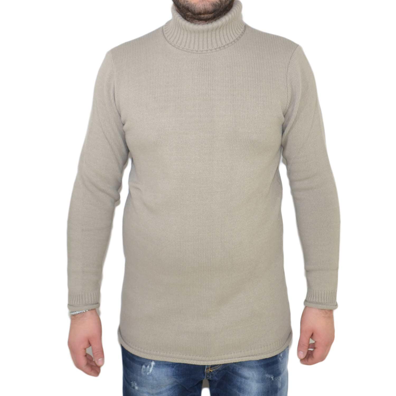 Maglione dolcevita uomo manica lunga con colletto stretto beige made in italy moda tendenza slim tinta unita basic uomo maglioncini ENOS | MaluShoes
