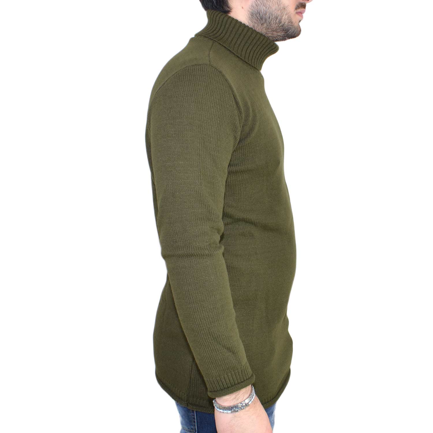 Maglione collo alto art..4432 verde made in italy moda tendenza slim.
