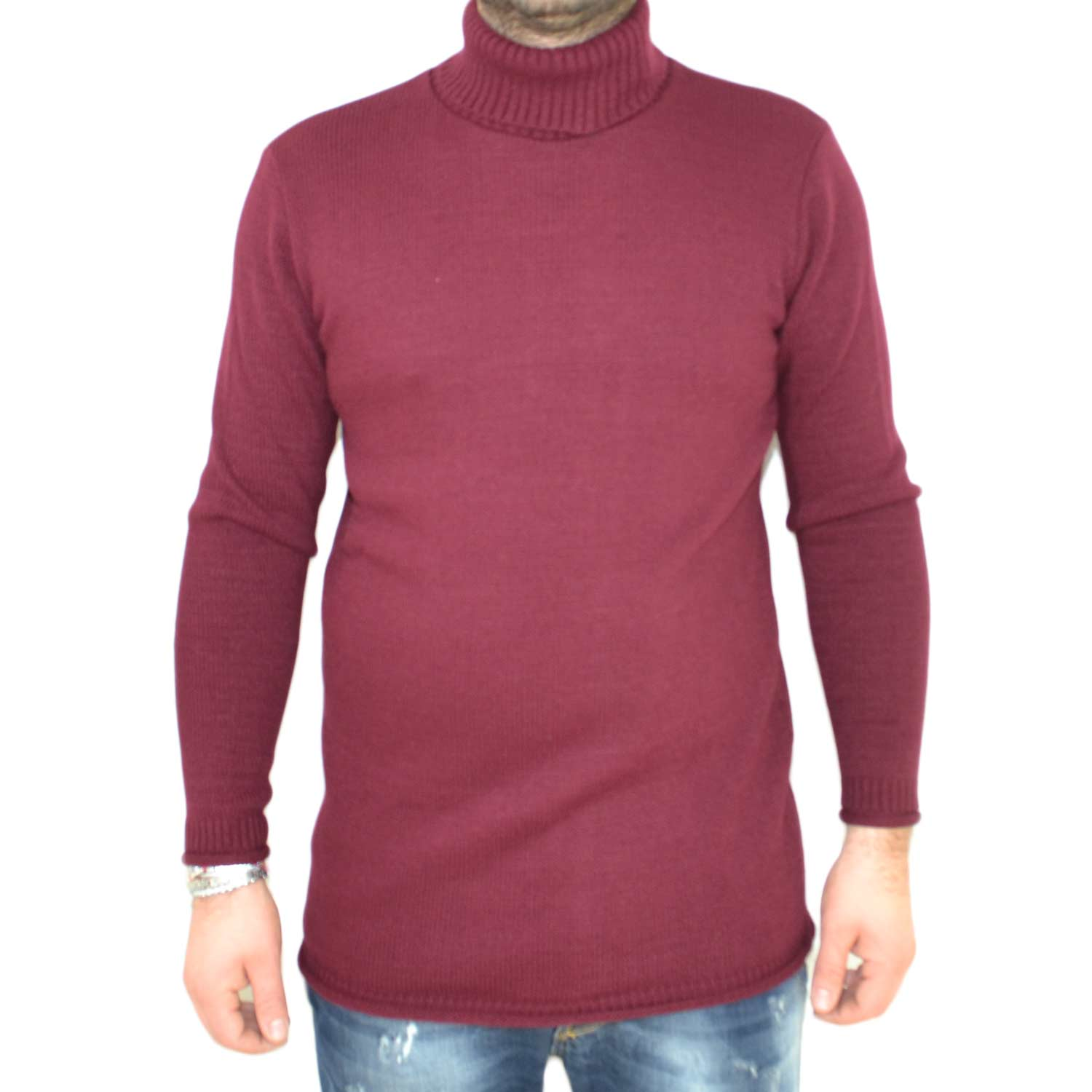 Maglione collo alto art..4432 bordeaux made in italy moda tendenza slim.