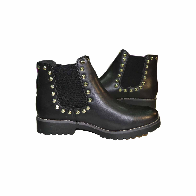vendibile acquista per ufficiale selezione straordinaria Scarpe donna stivaletto nero donna basso con borchie argento fondo roccia  ultraleggero antiscivolo donna stivaletti Malu Shoes | MaluShoes