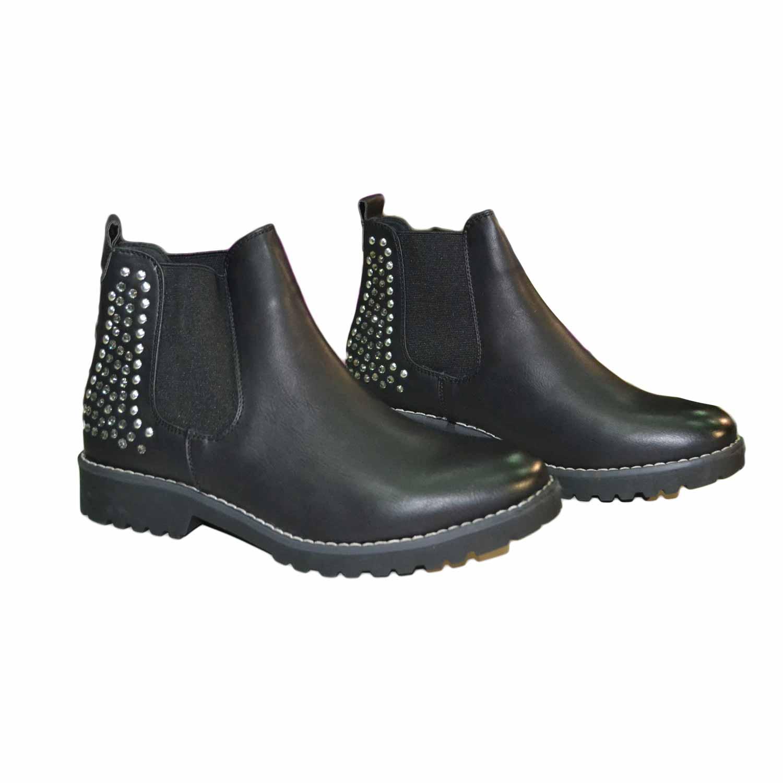 nuovo stile 0d4d8 a0b5a Scarpe donna stivaletto nero basso con strass argento fondo roccia  ultraleggero donna stivaletti Malu Shoes | MaluShoes