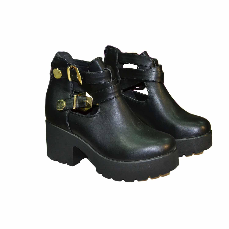 big sale f0d8a 23ebe Scarpe donna stivale donna nero comfort fondo alto nero ultraleggero e  cinturini dorati donna stivaletti Malu Shoes   MaluShoes
