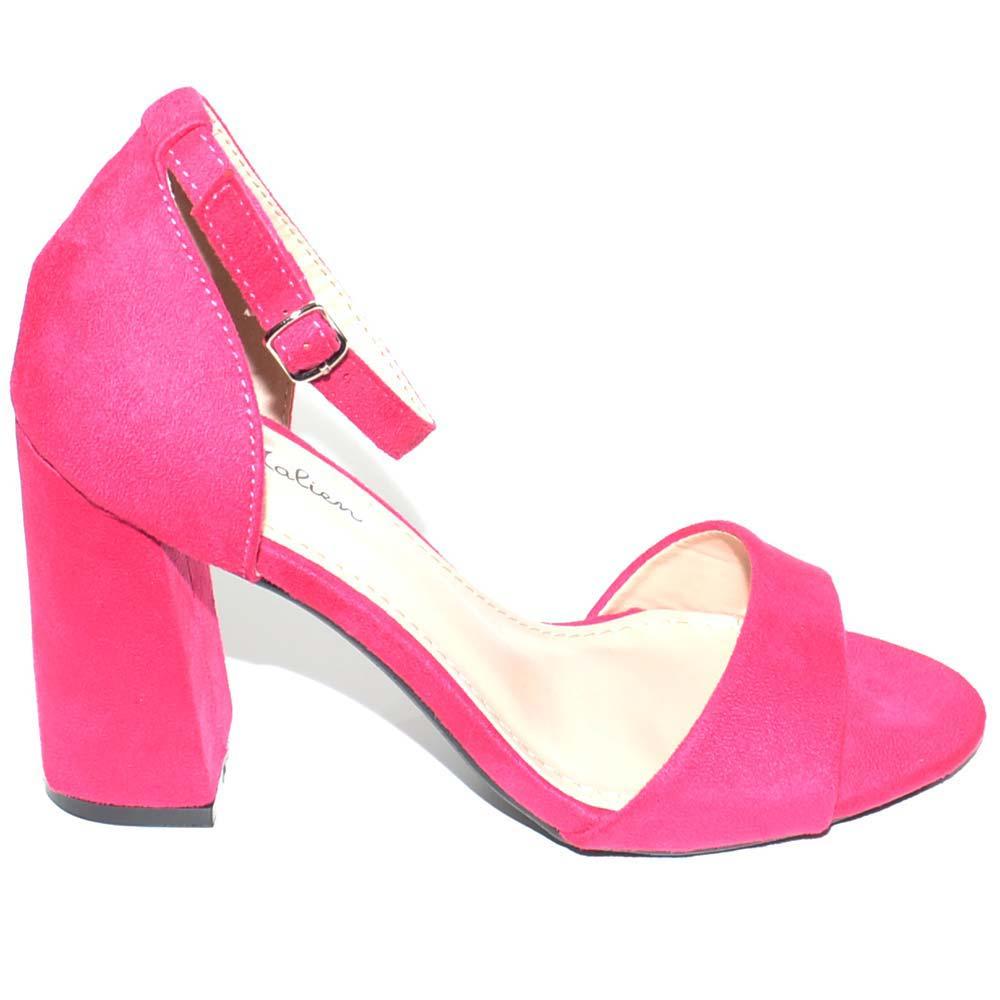 buy online 8f78e 0414c Sandalo tacco doppio comfort asimmetrico fucsia scarpe donna eleganti per  cerimonia con cinturino alla caviglia donna sandali tacco Malu Shoes | ...