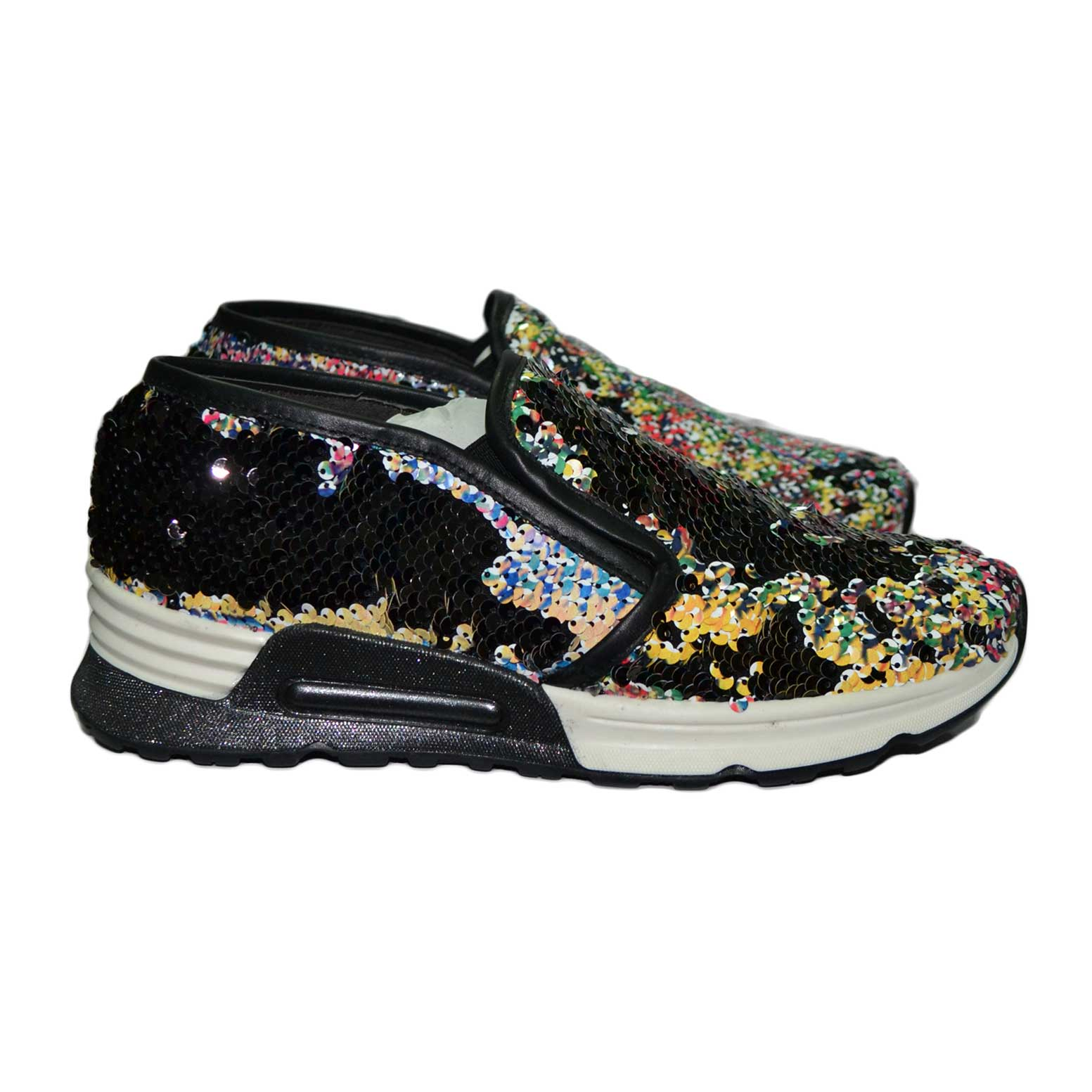 Sneaker pailettes multicolor vera pelle made in italy.