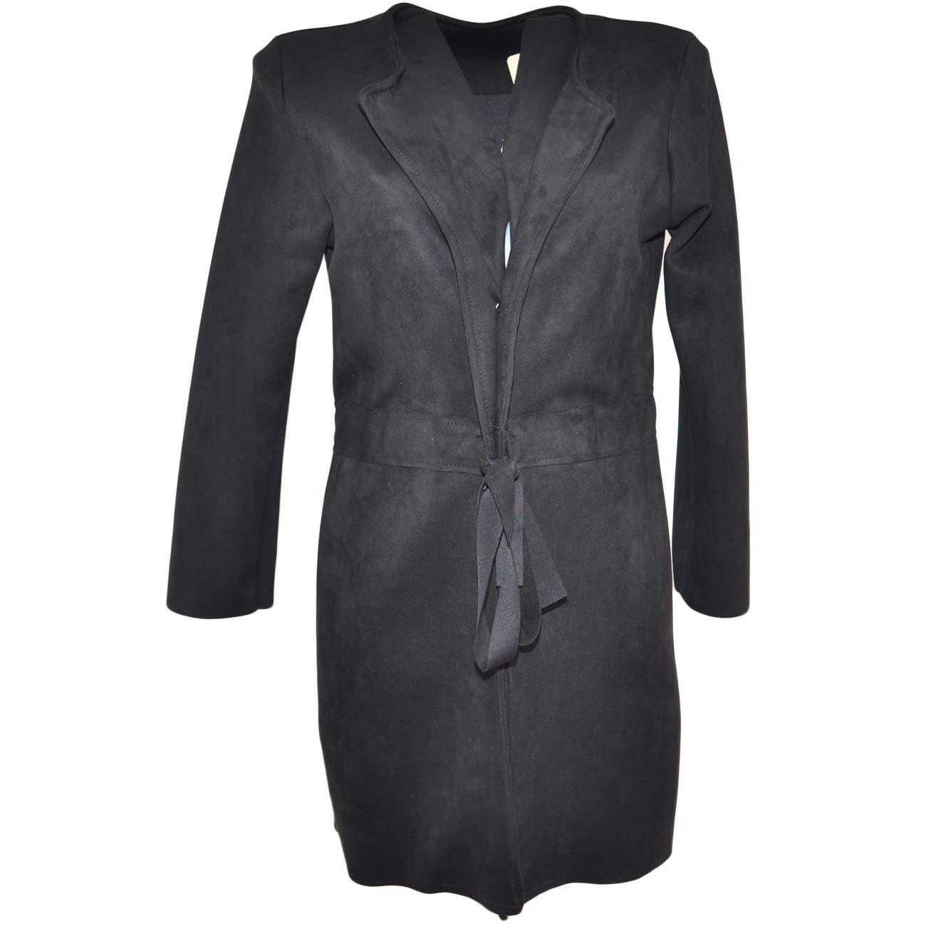 miglior sito web 2f3be f17cb Cappotto giacca donna nera in tessuto scamosciato con coulisse in vita  taglio lento moda elegante donna cappotti Malu Shoes | MaluShoes
