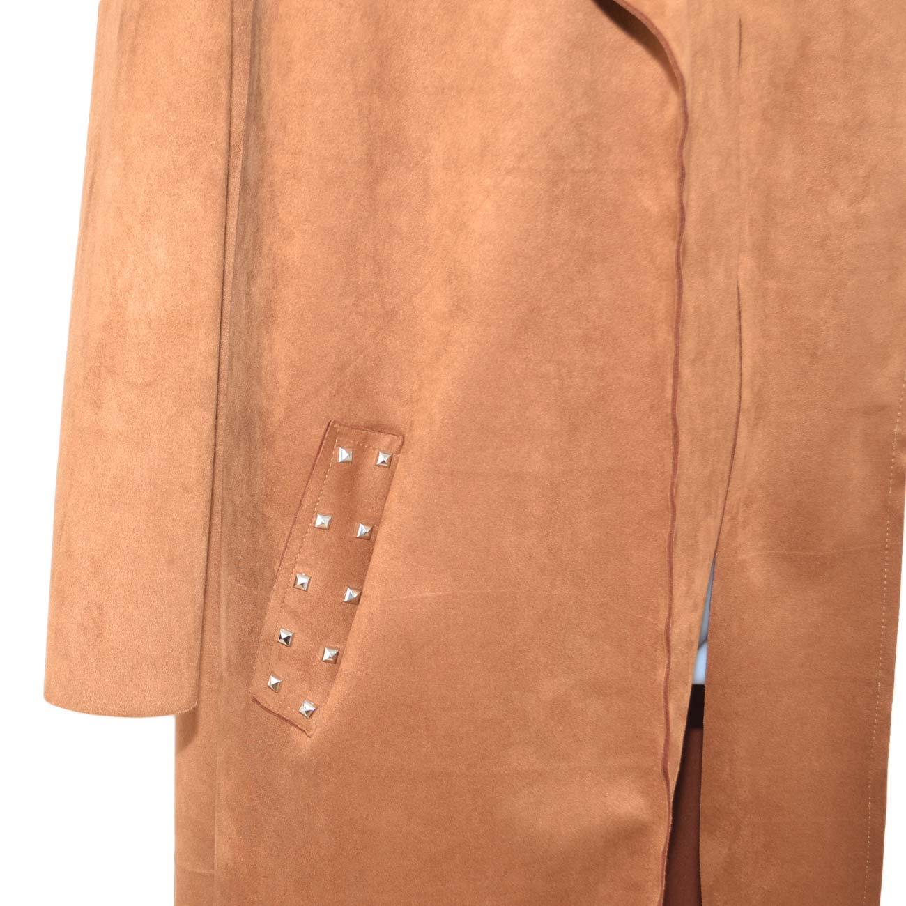Cappotto giacca donna cuoio in tessuto scamosciato a due tasche con borchie taglio lento moda elegante donna giacche Malu Shoes   MaluShoes