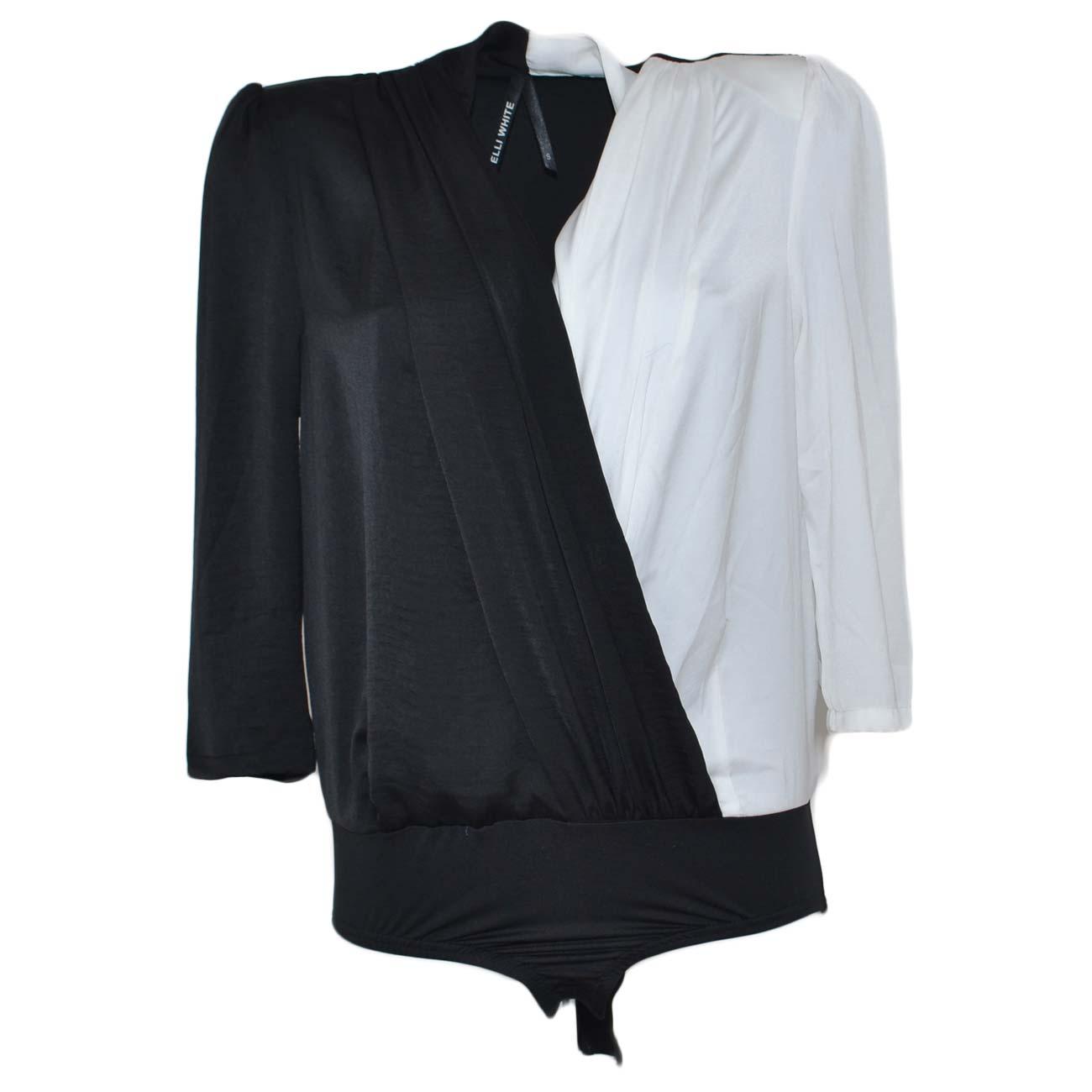 finest selection fc112 539f4 Camicia body donna blusa bicolore bianca e nera manica ampia a 3/4 scollo  incrociato a V moda glamour donna body Malu Shoes | MaluShoes