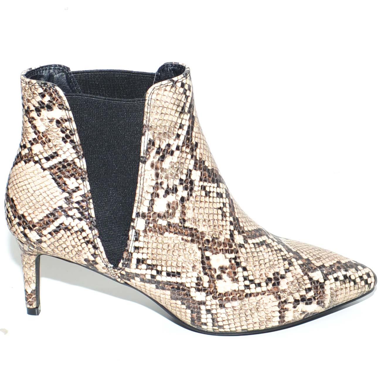 Tronchetto donna a punta animalier pitonato con tacco basso midi modello zara elastico alla caviglia moda outfit donna tronchetti Malu Shoes |