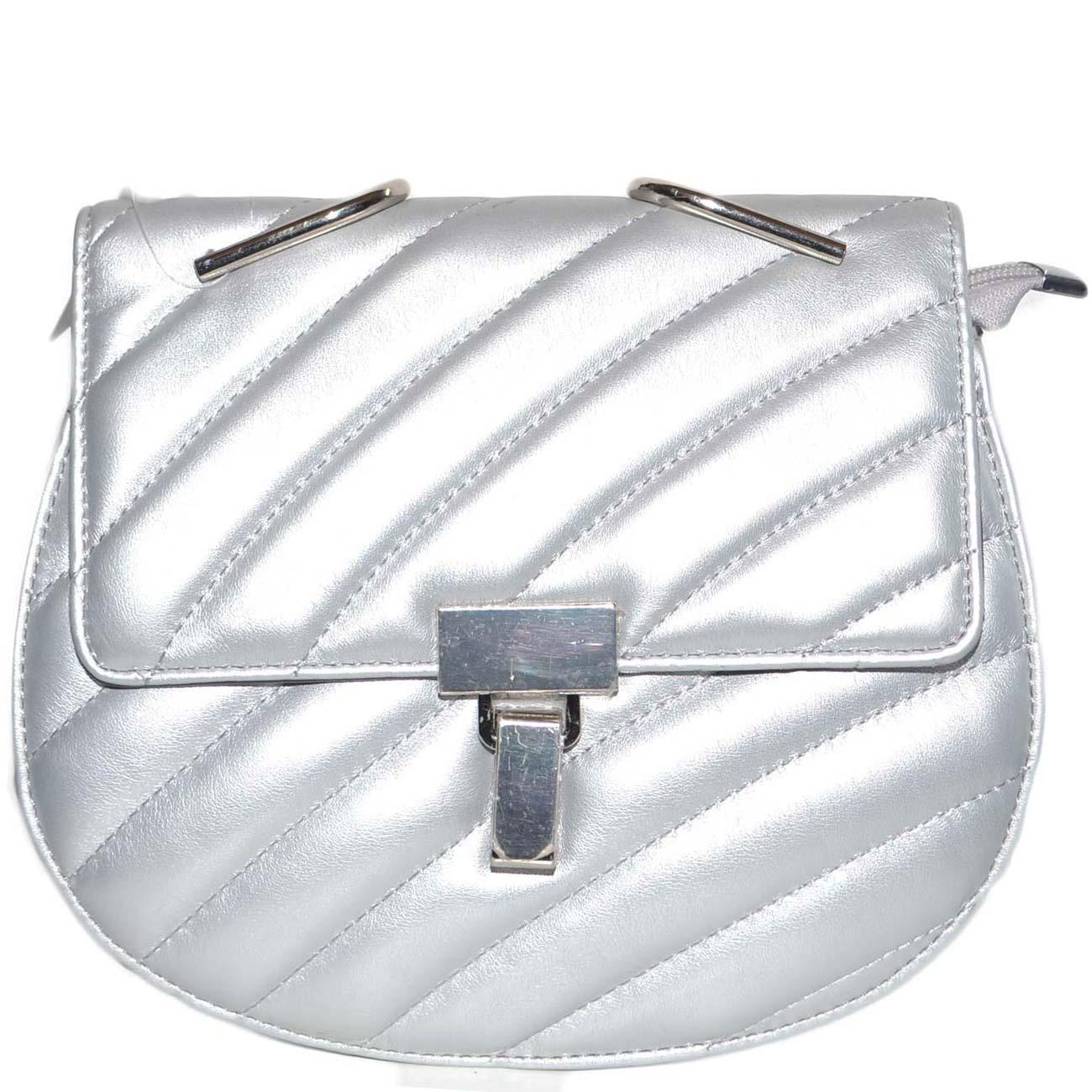 3f2179de13 Borsa donna argento piccola in pelle con catena e tracolla gancio ...