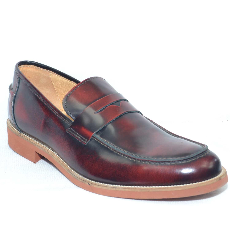 Scarpe uomo mocassino abrasivato bordeaux con bendina vera pelle lucido  eleganti made in italy fondo comfort 9bf40a553de