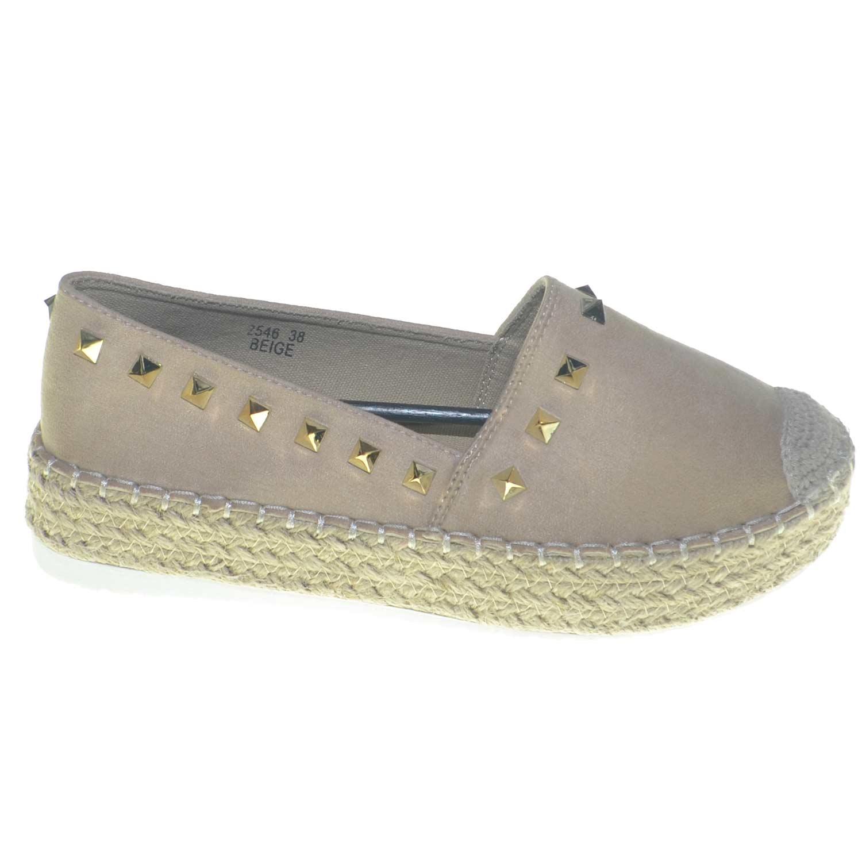 new styles 6bace 60ef0 Scarpe donna ballerine basse espadrillas con borchie fondo paglia moda  spagnola donna mocassini Malu Shoes | MaluShoes