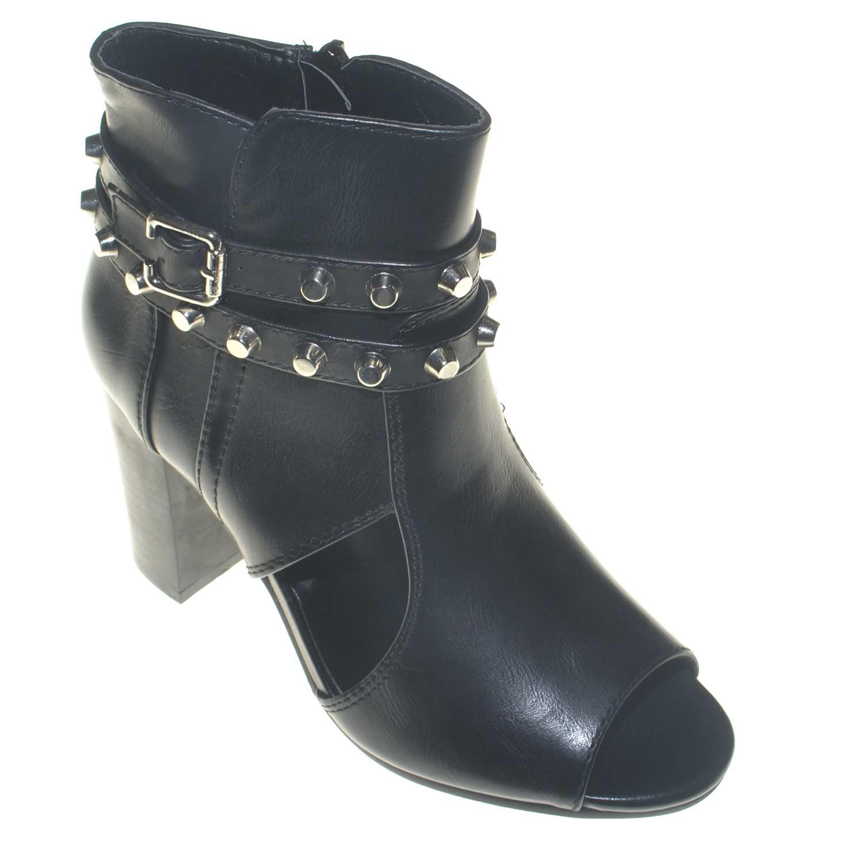 Scarpe donna tronchetto moda glamour con cinturino e borchie chiusura zip tacco