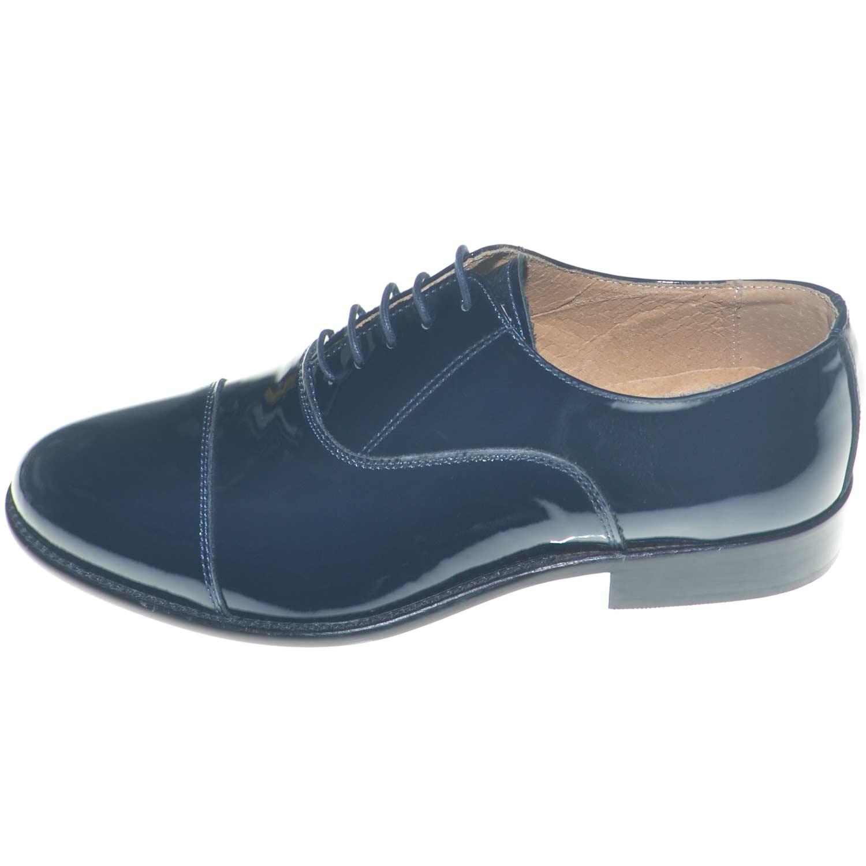 Scarpe uomo stringate classiche con mezza punta in vernice blu made in  italy fon 4543206d8e5