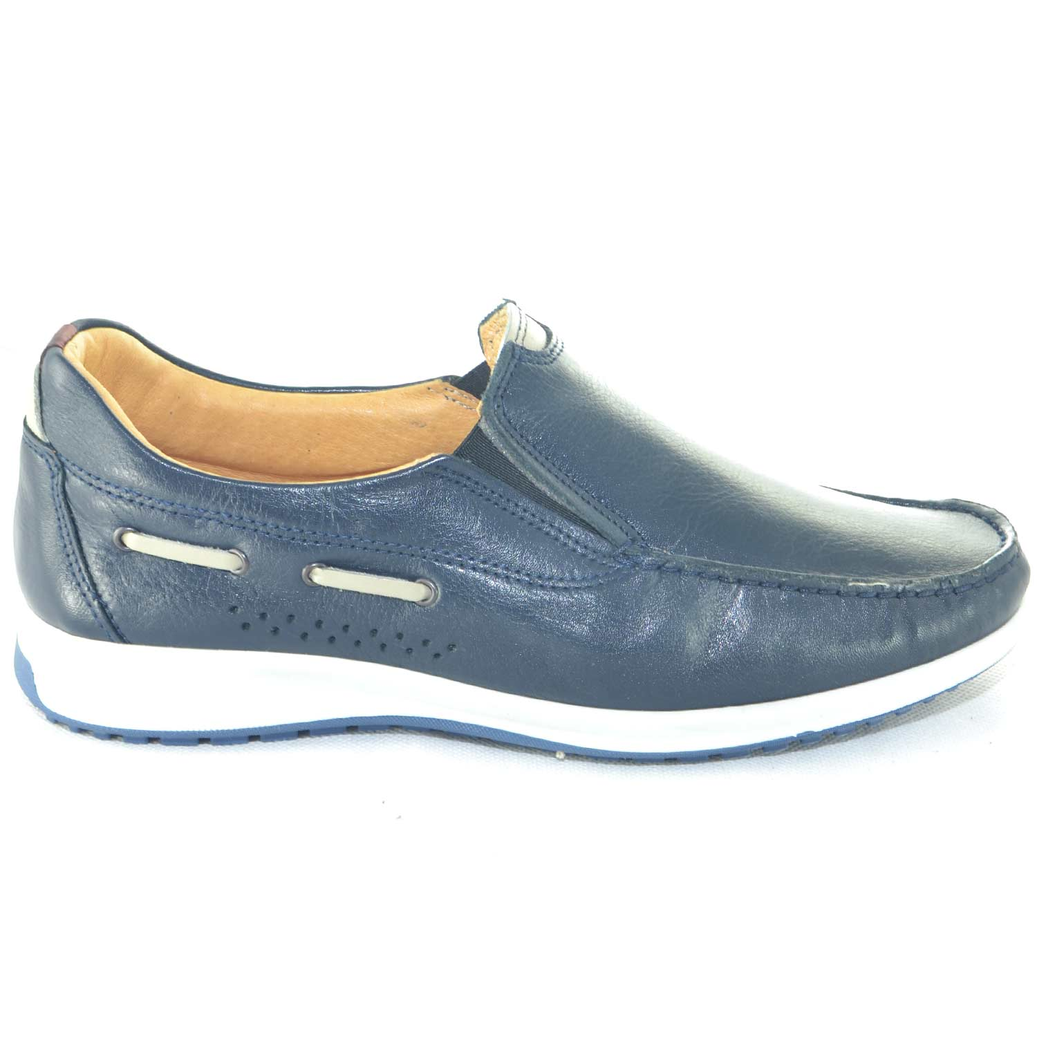 0e49bb7f5e1e7 Scarpe uomo mocassini interland comfort man casual made in italy vera pelle  blu