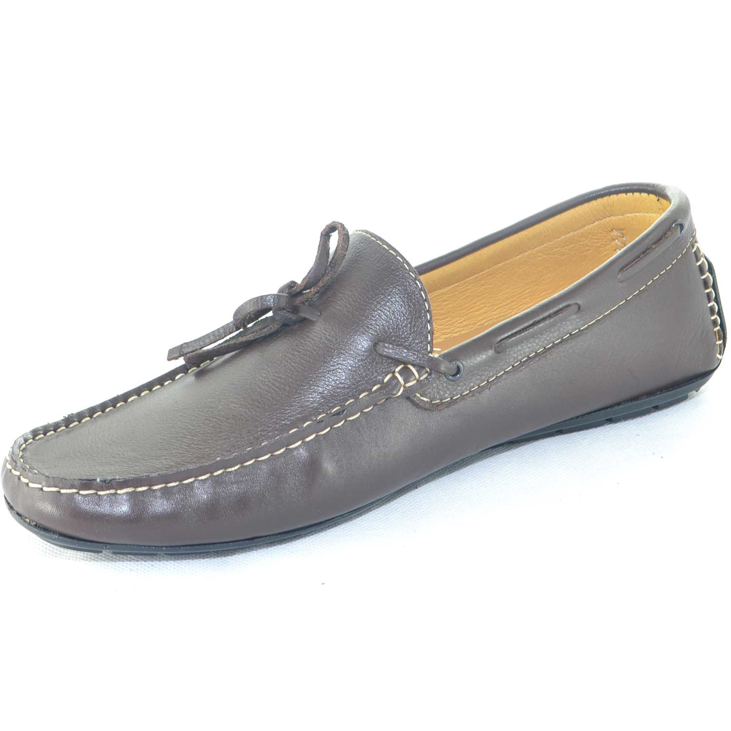 Scarpe uomo mocassino interland marrone da barca modello car shoes slip on made in italy comfort vera pelle moda estiva	.